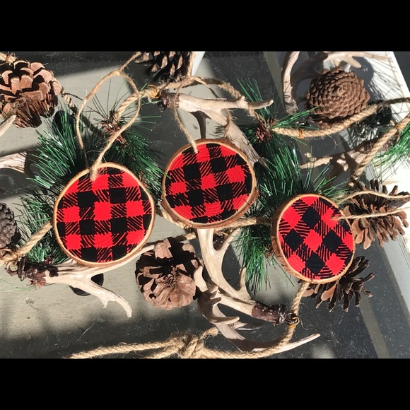 Buffalo Plaid Hand Painted Wood Slice Ornaments Boutique